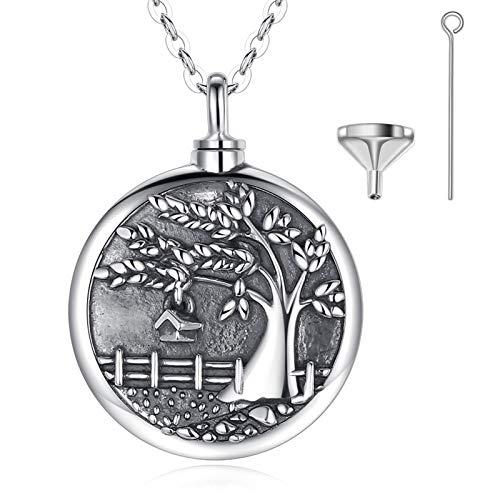 925 Sterling Silber Einäscherung Asche Urne Ketten Baum des Lebens Anhänger mit Reichtum Kasten, Mama Papa Haustiere Denkmal Schmuck Geschenke Andenken