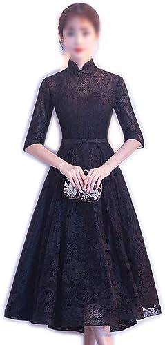 FELICIOO Robe de soirée élégante Noire en Dentelle avec col Montant et Dentelle pour Femmes