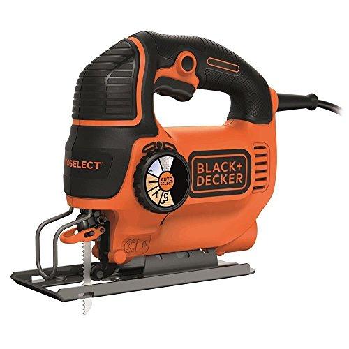 BLACK+DECKER KS801SE-QS Seghetto Alternativo AUTOSELECT ad Azione Pendolare in Cartone + 1 Lama, 550 W, Orange/Noir, 550W