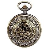 JewelryWe Reloj de Bolsillo Bronce, Retro Vintage Reloj Cuarzo, Estilo Chino con Dragón y Fénix De Suerte Y Felicidad, Relojes para Hombre, Buen Regalo