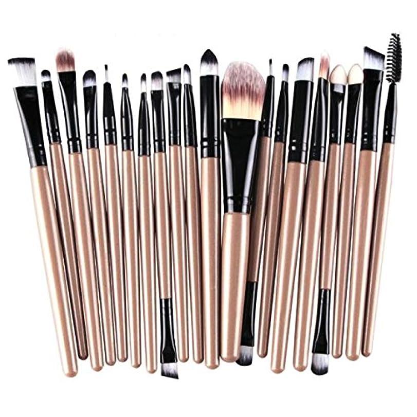 フレームワーク栄養ダイジェストFortan化粧ブラシ メイクブラシ アイシャドー 化粧用 20本セット (ゴールド)