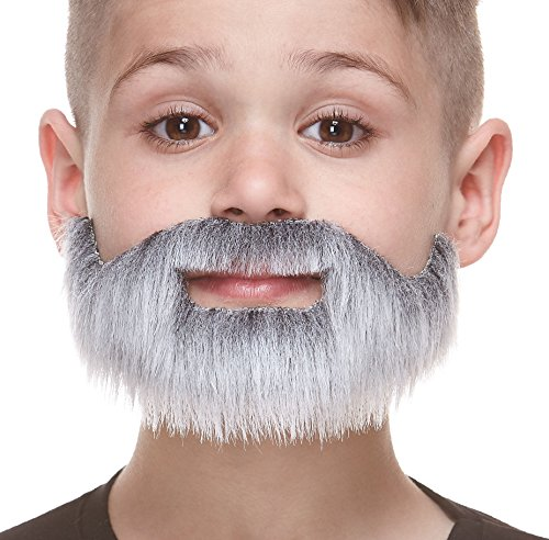 Mustaches Fake Beard, Self Adhesive, Novelty, Small, Short Boxed False Facial Hair, Costume Accessory for Kids, Gray with White Color
