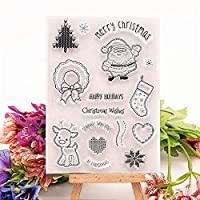 売れ筋シャイニークリスマスセットクリアスタンプ/シリコーンシールローラースタンプDIYスクラップブックアルバム/カード製作