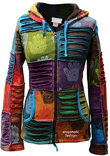 SHOPOHOLIC FASHION Damen Mehrfarbig Henna Hand Spitz Kapuzenpulli Verblichen Hippy Jacke - Mehrfarbig, Mehrfarbig, Small