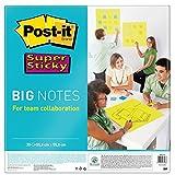 Post-it, Große Farbige Haftnotizen Liniert, Bunte Super Sticky Big Notes, Selbstklebende Klebezettel und Haftnotizzettel für Beruf und Studium, 30 Blatt, 558 x 558 mm