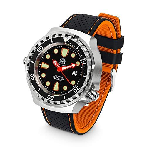Tauchmeister T0255SE XXL - Orologio automatico da immersione, 100 ATM, cinturino in silicone, 52 mm