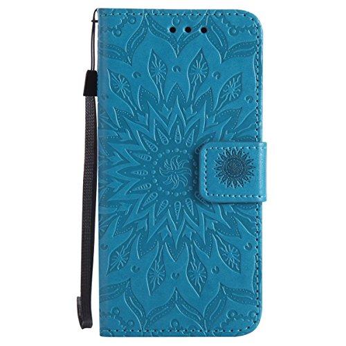 Ysimee Coque Nokia N550, Étui Portefeuille Magnétique en Cuir Fleur en Relief Folio Housse Con Antichoc TPU Bumper Poche de Cartes Fonction Support Coque à Rabat pour Nokia N550,Bleu