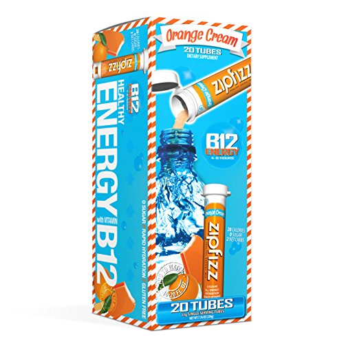 Zipfizz Healthy Energy Drink Mix, Hydration with B12 and Multi Vitamins, Orange Cream, 20 Count