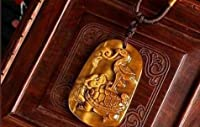 Pendant Turtle and Heron - stability and prosperity - Tiger Eye O-27 ペンダントタートルとヘロン - 安定と繁栄 - タイガーアイO-27