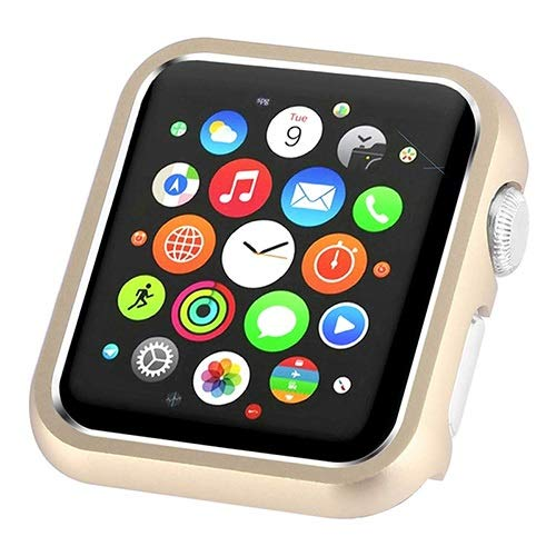 LLMXFC Mling Hard Metal Case Protector for Apple Watch Series 1 2 3 4 42MM 38MM 40MM 44MM for iwatch Frame Protective Cover Bumper (Color : Gold, Dial Diameter : Series 123 42MM)