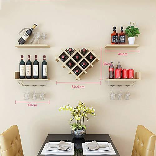 LXD Estantes de Vino, Mueble de Vino Montado en la Pared Montaje de Rejilla de Vino Estante Moderno,Color de Nuez Ligero