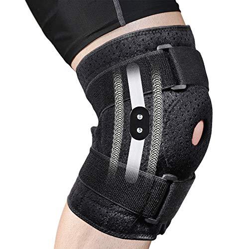 Rodillera con bisagras ajustable para hombres y mujeres, estabilizador de rótula abierta Soporte de rodilla para rodillas Alivio del dolor de la articulación artrítica Deportes Protección para correr