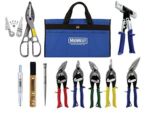 MIDWEST BUILDING Tool Kit - 10 Piece Set Includes Aviation Snips with Siding Tools & Bag - MWT-BULDKIT03