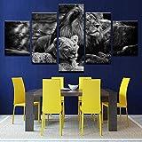 65Tdfc Stampe E Quadri su Tela Quadro su Tela Modulare Stampa Artistica Poster Decorazioni per La Casa Cornice 5 Nero Bianco Foto di Animali Forest Lion King