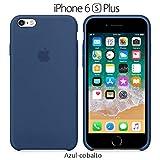 Funda Silicona para iPhone 6 Plus y 6s Plus Silicone Case, Logo Manzana, Textura Suave, Forro Microfibra (Azul-Cobalto)
