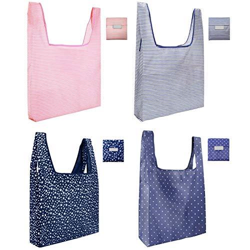 Bolsas de compras reutilizables paquete de 4, bolsas de compras plegables portátiles, lavables y respetuosas con el medio ambiente, elegantes bolsas plegables en el bolsillo para el hogar
