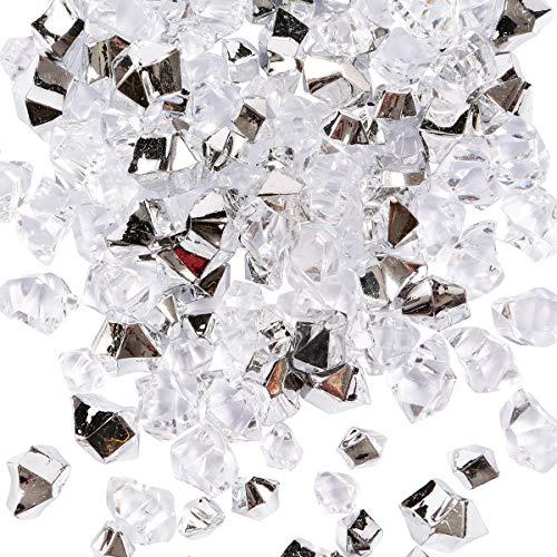 150 Piedras de Hielo trituradas Falsas, Piedras Preciosas de Cristal acrílico para Relleno de jarrones, decoración de la Mesa del hogar para Bodas, (Plateado/Transparente)
