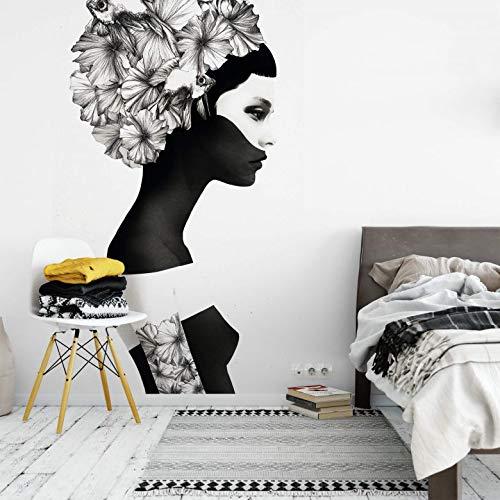 Fototapete Tapete Vlies Ruben Ireland Marianna Hibiskusblüten Kunst schwarz-weiß Blumen Fisch Tattoo Wanddeko Illustration Wall-Art - 2