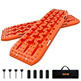 ORCISH Recovery Traction Boards Tracks Tire Ladder for Sand Snow Mud 4WD(Set of 2) (2Gen Bag+Mounting Pins, Orange)