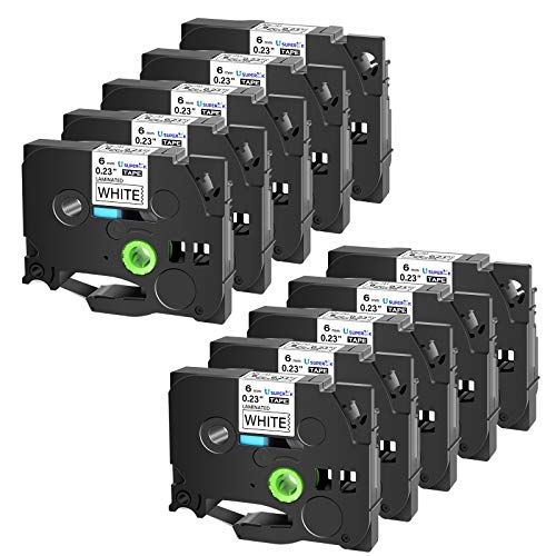 SuperInk 10PK Black on White Laminated Label Tapes Compatible for Brother TZ-211 TZe-211 TZe211 TZ211 P-Touch Label Maker 0.23'' 6mm 1/4 inch x 8m 26.2ft TZ TZe Labeling Tape for PTD210 PTH110 PTD400
