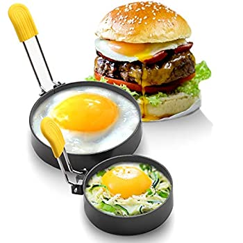 Large 3  and 4  Non-stick Egg Rings Round Griddle accessories for Indoor Camping,Breakfast Household Mold for Frying Eggs English Muffins Mini Pancake Sandwich Burger