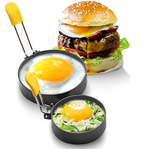 """Two Sizes 3"""" 4"""" Non-stick Egg Rings, Round Griddle accessories for Indoor Camping,Breakfast Household Egg Mold for Frying English Muffins Mini Pancake Sandwich Burger"""