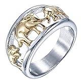 PAURO Herren Edelstahl Goldene überzogene Elefant Ring Tierschmucksache Größe 60
