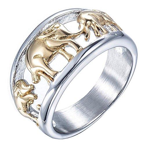 PAURO Hombres Acero Inoxidable Anillo de Oro Plateado Elefante Joyería Animal Tamaño 19