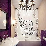 JXNY Cartoon Zahn emotionale Wandaufkleber Hauptdekoration Badezimmer Wanddekoration Kinder Kinderzimmer Babyzimmer Dekoration 63cmx58cm