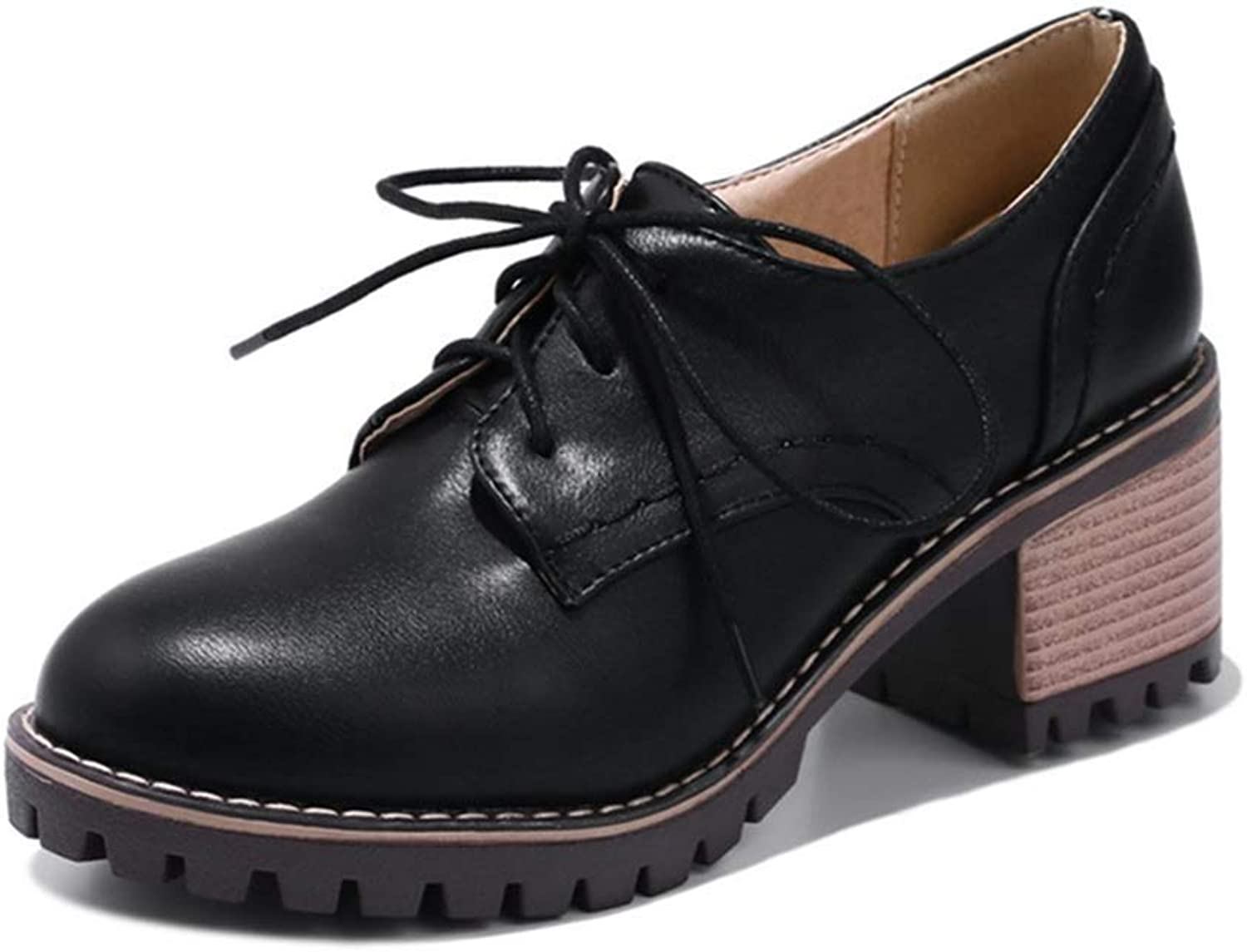 Elsa Wilcox Women Wingtip Chunky Mid Heel Vintage Dress Oxfords shoes Round Toe Lace Up Platform Oxford Pump