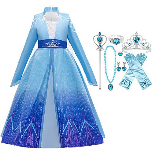 Fanessy- Disfraz de Princesa Elsa Reina de la Nieve Escote Azul de Manga Larga Vestido de Capa de Copo de Nieve Fiesta de Halloween Cumpleaños Fiesta de Baile Disfraz de Cosplay Varita mágica Corona