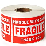 Fragile 2'x3' Handle with Care Shipping Stickers, 500 Labels Per Roll