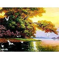 5Dダイヤモンド絵画夏の風景ダイヤモンド刺繡クロスステッチツリーフルスクエアラインストーン家の装飾
