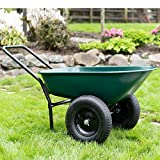 Garden Star 70005 Large Steel Tray Yard Rover Wheelbarrow, Green/Black