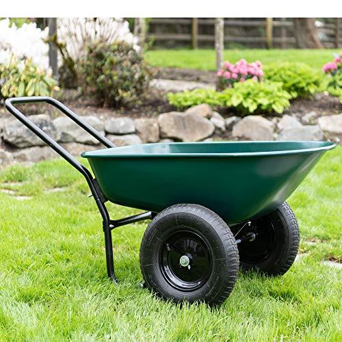 Garden Star 70005 Large Steel Tray Rover Wheelbarrow, Green/Black