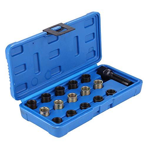 KKmoon 16 Pezzi Kit di Utensili per Riparazione Filettatura Candela, Inserto per Filettatura M16 M14