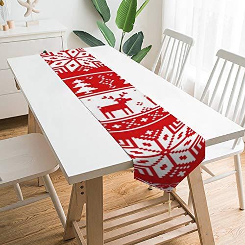 Camino de mesa decorativo mantel de Navidad rojo vintage venado Patern camino de mesa decoración para fiestas evento 30 x 90 pulgadas
