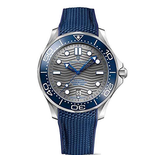 Pagani Design - Reloj de buceo automático para hombre con diseño de onda, brazalete de acero inoxidable original, bisel de cerámica, espejo curvo de zafiro, resistente al agua