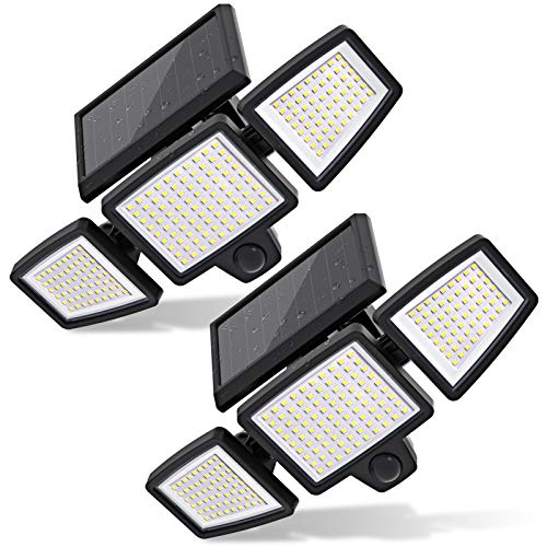 Solar Lights Outdoor, 210 LED 2500LM Solar Flood Security Lights with Motion Sensor Wireless 25FT IP65 Waterproof 3 Heads Spot Flood Wall Lights for Porch Garage Yard Entryways Patio (Black, 2pcs)