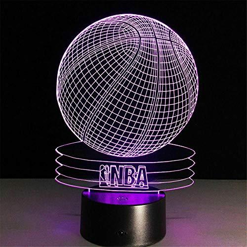 Luz nocturna 3D para niños Baloncesto NBA 3D ilusión lámpara, 16 colores que cambian con control remoto, regalo de cumpleaños para niños y niñas