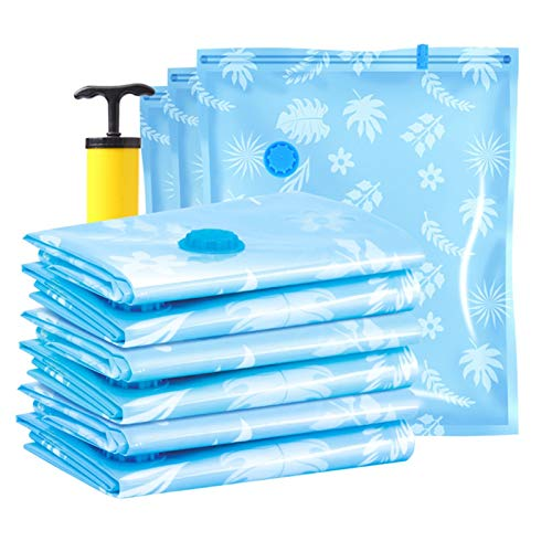 QQGGTongFeng Durable 5 Pcs Compressed Storage Bags Travel Vacuum Pack Saver with Hand-Pump for Clothes, Blankets,