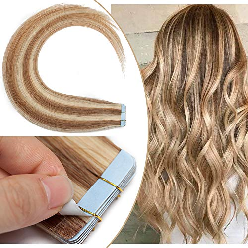Extenson Capelli Veri Biadesivo Meches Tape in Hair Extension Adesive Remy Human Hair 50g/set 20 Fasce - 40cm 12/613 Marrone Chiaro/Biondo - Lisci Naturali Umani Invisibile Lunghi