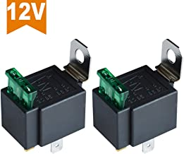 Ehdis Fused Relay On/Off 12V 30A Automotive 4-Pin Fuse Mounting Base Socket SPST Metal Normally Open Car Motor Automobile, Pack of 2