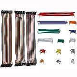 DETEKER 260本多色デュポンワイヤー、ArduinoやRaspberry Piなどの実験用ワイヤ—ゲ—ジ オス-メス オス-オス メス –メス ブレッドボード ジャンパーワイヤー ジャンプワイヤキット 単線タイプのワイヤ (260本多色デュポンワイヤー)