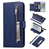 EYZUTAK Wallet Case for iPhone 6 iPhone 6S, 5 Card Slots Magnetic Closure Zipper Pocket Handbag PU Leather Flip Case with Wrist Strap TPU Kickstand Cover for iPhone 6/6S - Blue
