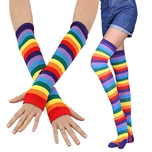Tivivose Guantes de la manera de las señoras de las medias + calentador del brazo de la mano de la manopla algodón caliente muchachas de las mujeres del arco iris impresión de rayas medias hasta el mu