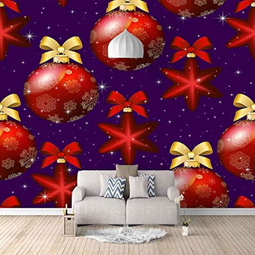VITICP Fotomurales Papel Pintado Personalizado 3D Pared Pintura Cartel de bola de navidad roja Pegatinas Adhesivas Para Sala de Estar TV Sofá Pared Sala de Estar Dormitorio Decoración del Hogar 350Cm(
