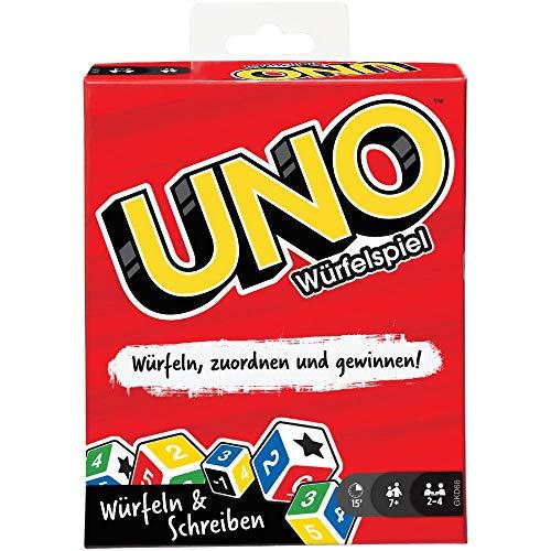Mattel Games GKD66 - UNO Würfelspiel für die ganze Familie, mit Trockenlöschtafeln und Markern,...