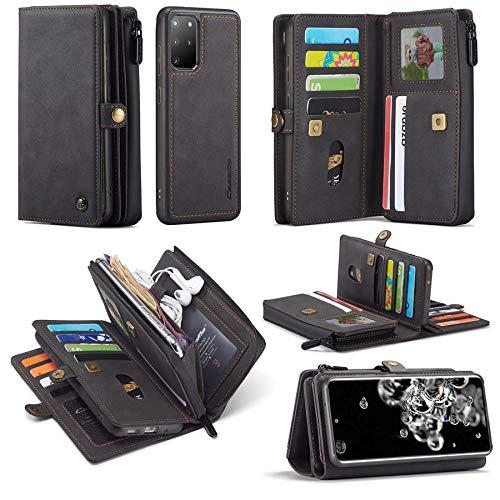 Happy-L Coque pour Samsung Galaxy S20 Plus, étui portefeuille multifonctionnel en cuir hybride [coque arrière détachable fine] Porte-cartes Fermeture éclair (couleur : noir)