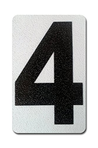 Curb-N-Sign Individual Peel & Stick, Reflective Aluminum Numbers/Letters, Sticks to Concrete, Wood, Metal, Tile, Brick, Glass, Paint, Stucco, Plastic, Rock, Perfect for Every Home, 4 Inches, (4)